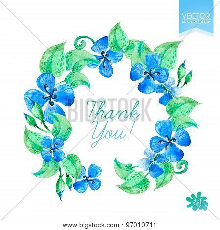 Vector Watercolor Colorful Circular Floral Wreaths With Summer Flowers. Hand Drawn Design. Perfect F