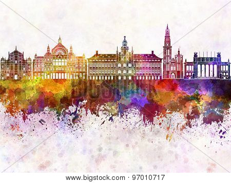 Antwerp Skyline In Watercolor Background