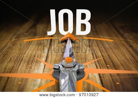 The word job and compass against wooden table