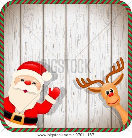 Santa And Reindeer In Christmas Frame