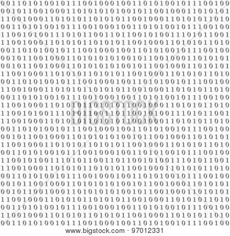 Binary system code abstract grey background. Vector design
