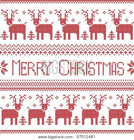 Scandinavian inspired Merry Christmas nordic pattern with  2 rows of  reindeer patten, snowflakes, t