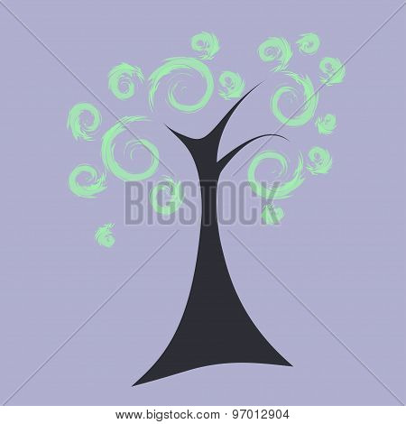 Art tree with curly crown,vector illustration, eps10