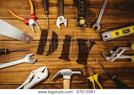 The word diy against tools on desk