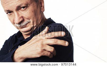 Successful Elderly Man On White Background