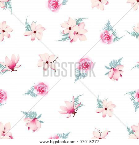 Romantic Roses And Magnolia Seamless Vector Pattern