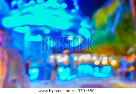 Blur Image Of Night Club For Background Usage.