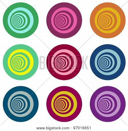 Multiple Vortex With Concentric Stripes In Different Colors Over White