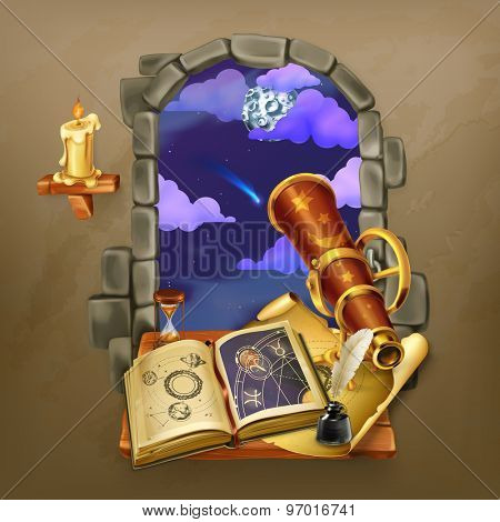 Window in the castle, magic and astrology vector illustration