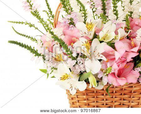Beautiful floral arrangement in basket close up