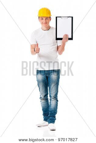 Young foreman with hard hat, showing blank clipboard, isolated on white background