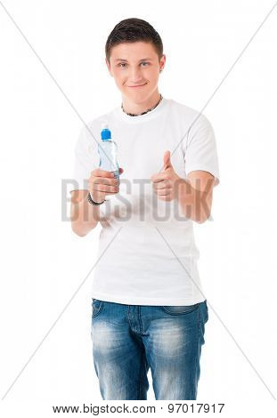 Young man with bottle of water isolated on white background