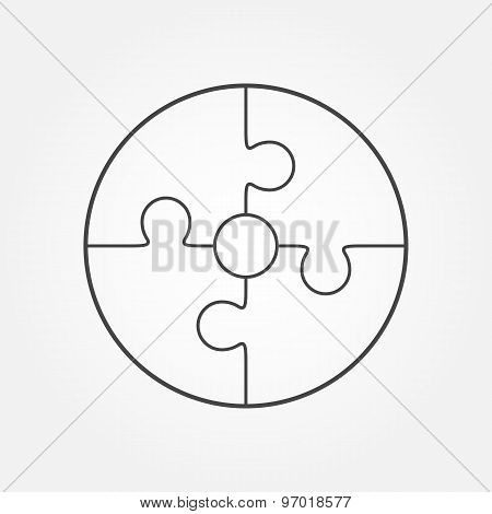Jigsaw Puzzle In The Form Of Circle.