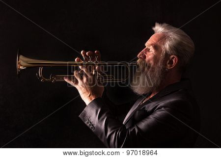 Profile Portrait Of A Trumpet Player