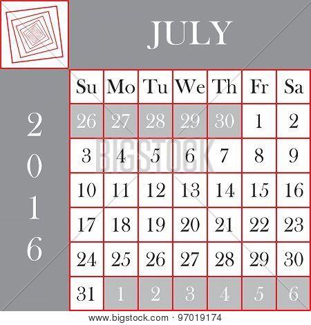Square Format 2016 Calendar July
