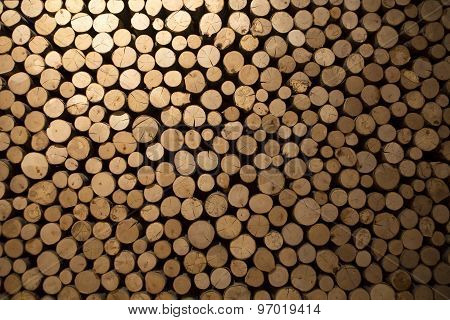 Closeup Of Stacked Firewood