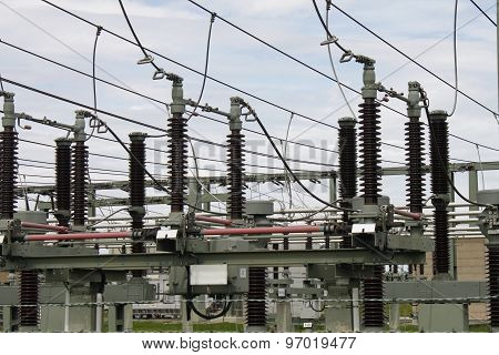 high voltage substation transformer station electric Strom