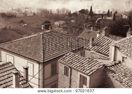 Italy. Tuscany Region. Montepulciano. In Sepia Toned. Retro Style