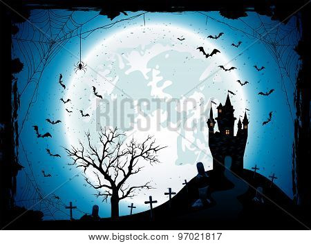 Halloween Background With Castle And Spider