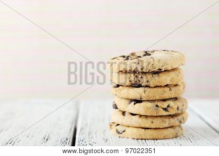 Chocolate Chip Cookies On White Wooden Background