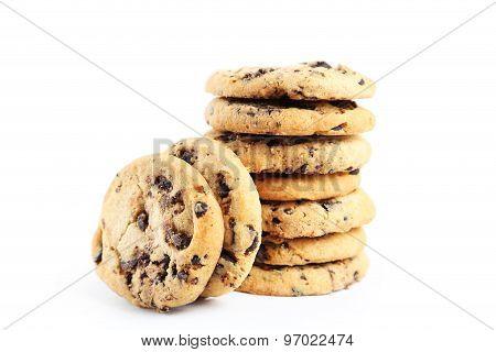 Chocolate Chip Cookies Isolated On A White