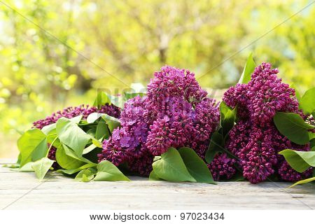 Purple Lilac Flowers On Grey Wooden Background, Outdoors