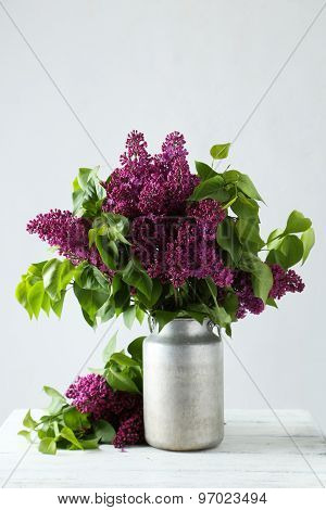 Purple Lilac Flowers In Watering Can On White Wooden Background