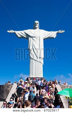 RIO DE JANEIRO - APRIL 24, 2015: Tourists at the Christ the Redeemer on April 24, 2015, located on top of Corcovado, in Rio de Janeiro, Brazil.