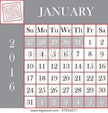 Square Format 2016 Calendar January