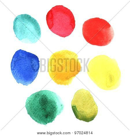 Set of colored watercolor stains
