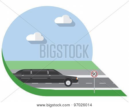 Flat Design Vector Illustration City Transportation, Limousine, Side View Icon