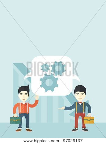 Two men carrying bags thinking a new business in logistics. Brainstorming, speech bubble gears. Teamwork concept. A Contemporary style with pastel palette, soft blue tinted background. Vector flat