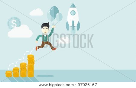 An asian Businessman holding balloons fly high with coin graph that shows increase in sales. Start up business concept. A Contemporary style with pastel palette, soft blue tinted background with