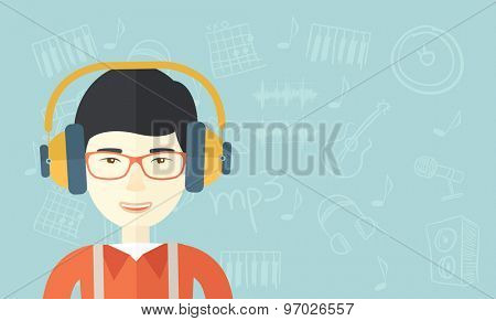 A Happy young guy listening to music with headphones. Happy concept. A Contemporary style with pastel palette, soft blue tinted background. Vector flat design illustration. Horizontal layout.