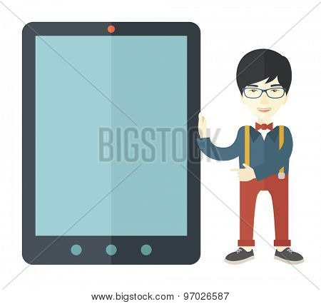 A chinese businessmen standing while holding a big screen a computer tablet perspective view strategy marketing. Business concept. A Contemporary style. Vector flat design illustration with isolated