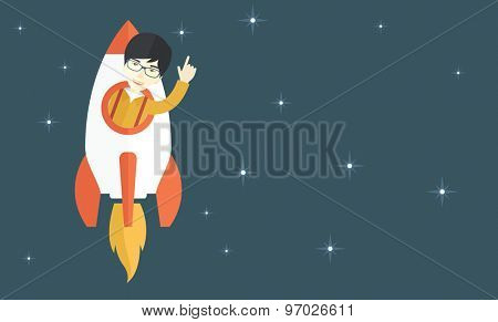 A Young aisan guy inside the rocket on launch of space. Startup concept. A Contemporary style with pastel palette, blue tinted background with stars. Vector flat design illustration. Horizontal layout