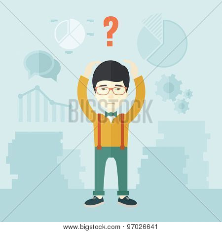 A chinese businessman with a problem standing scratching his head with question mark on top of his head. Unhappy concept. A Contemporary style with pastel palette, soft blue tinted background. Vector