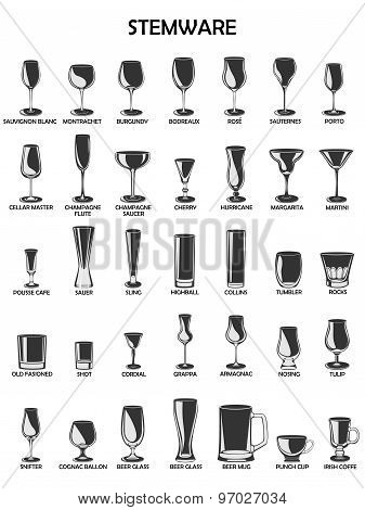 Stemware Set,vector Illustration On A White Background.a Collection Of Glassware Designed For Differ
