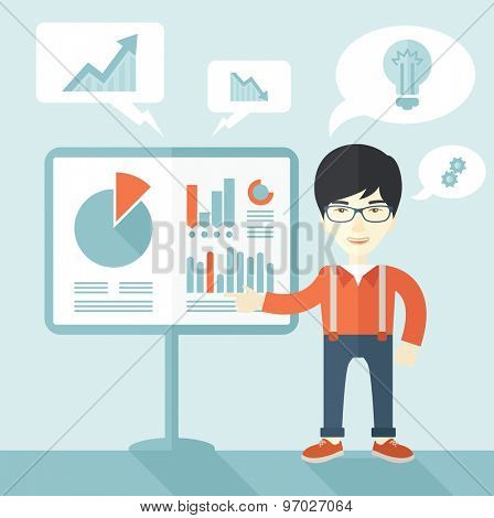 A chinese speaker presenting his report through infographics inside the conference room. Reporting concept. A Contemporary style with pastel palette, soft blue tinted background. Vector flat design