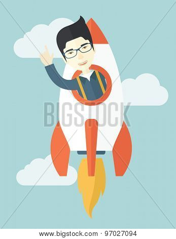 A Young asian guy inside the rocket on launch of space. Startup concept. A Contemporary style with pastel palette, soft blue tinted background with desaturated clouds. Vector flat design illustration
