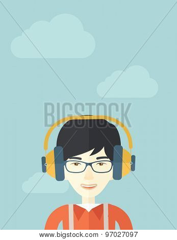 A Happy chinese young guy listening to music with headphones. Happy concept. A Contemporary style with pastel palette, soft blue tinted background with desaturated clouds. Vector flat design