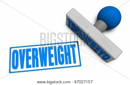 Overweight Stamp or Chop on Paper Concept in 3d