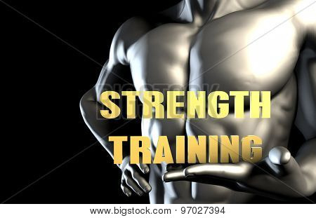 Strength training With a Business Man Holding Up as Concept