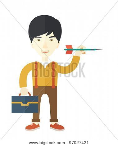 A chinese man holding a target arrow looking for the target pad for him to achieve his goal A contemporary style. Vector flat design illustration with isolated white background. Vertical layout.