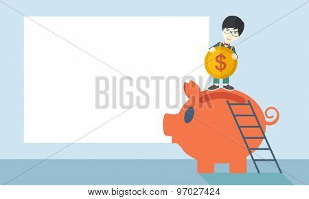 A young asian guy saving his money by putting a coin in big piggy bank using a ladder. Saving concept. A Contemporary style with pastel palette, soft blue tinted background. Vector flat design