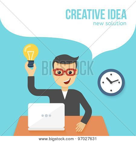 Young man sitting in front of laptop found solution. Creative idea. Vector flat illustration.