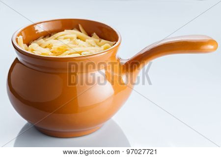 Roast With Vegetables, Meat And Cheese In Pottery.