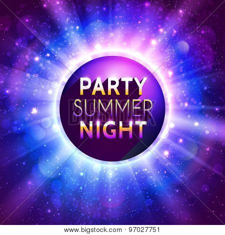 Shiny decorative disco ball with headline on purple bokeh vector background