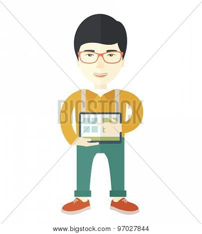 A japanese man standing while his hand pointing to the tablet to do his office presentation with the schedule of financial market. Business concept. A Contemporary style. Vector flat design