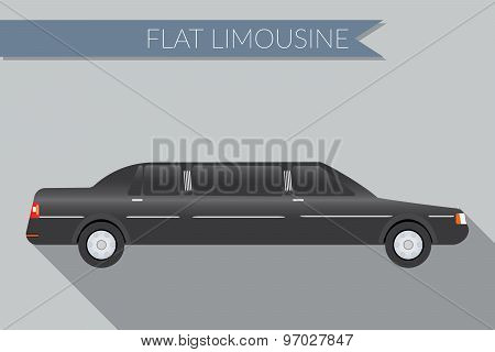 Flat Design Vector Illustration City Transportation, Limousine, Side View
